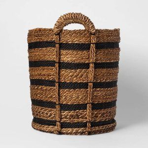 New Tall Striped Basket Black/Natural
